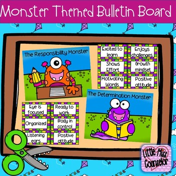 The Responsibility & Determination Monsters:  Mini Bulletin Board Set