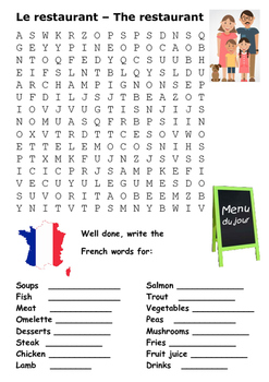 the restaurant and eating out word search by steven s social studies