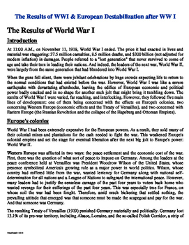 Results of WWI & European Destabilization Post WW I Reading Questions with Key