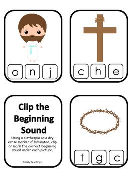 The Resurrection Beginning Sounds Clip It Game. Preschool Bible History Curricul