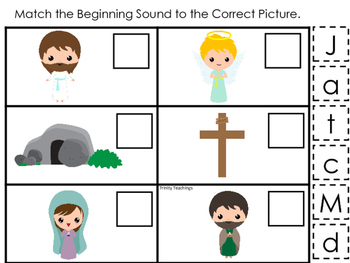 The Resurrection Beginning Sounds Game. Preschool Bible History Curriculum Study