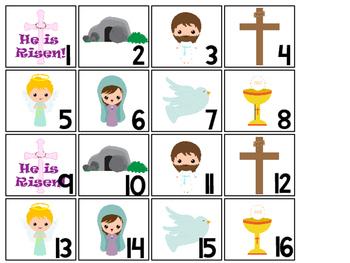 The Resurrection Calendar pieces. Preschool-KDG Bible bulletin board.