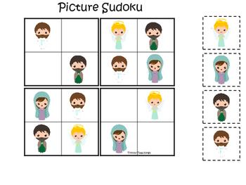The Resurrection Picture Sudoku Game. Preschool Bible History Curriculum Study