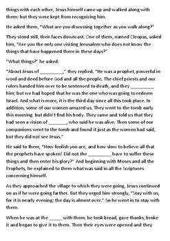 The Resurrection of Jesus Cloze Activity