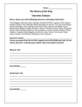 The Return of the King Character Analysis Activity - J. R. R. Tolkien