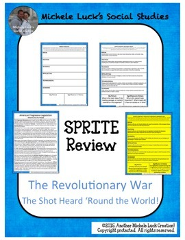 The Revolutionary War SPRITE Social Studies Graphic Organizer American