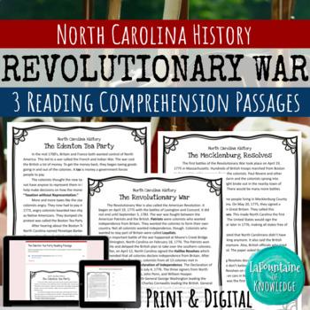 The Revolutionary War in North Carolina Reading Comprehension - 3 Passages!