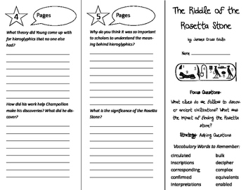 The Riddle of the Rosetta Stone Trifold - Imagine It 6th Grade Unit 2 Week 3