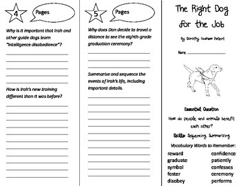 The Right Dog For the Job Trifold - Journeys 4th Grade Unit 4 Wk 2 (2014, 2017)