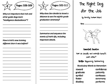 The Right Dog For the Job Trifold - Journeys 4th Grade Uni