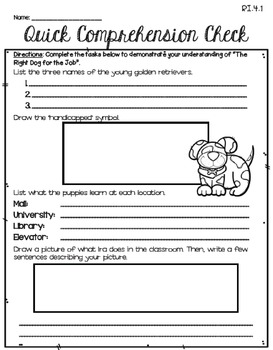 The Right Dog for the Job (Journeys 4th Gr. - Supplemental Materials)