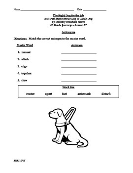 Journeys Common Core 4th - The Right Dog for the Job Supp. Packet for the SLP
