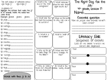 The Right Dog for the Job trifold; 4th grade Journeys