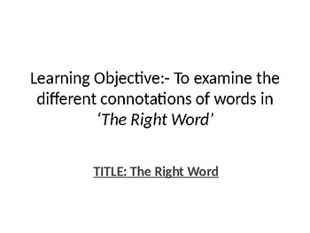 The Right Word by Imtiaz Dharker Poetry Lesson