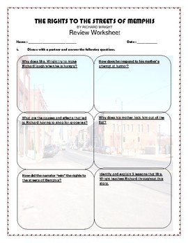 The Rights To The Streets of Memphis by Richard Wright - Review Worksheet