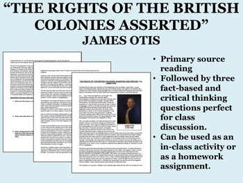 """The Rights of the British Colonies Asserted"" - James Otis - American Revolution"