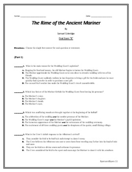 The Rime of the Ancient Mariner Formal Assessments