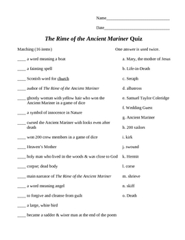 """""""The Rime of the Ancient Mariner"""" by Samuel Taylor Coleridge Quiz"""