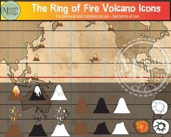 The Pacific Rim & Ring of Fire Map Clip Art Set {Messare Clips and Design}