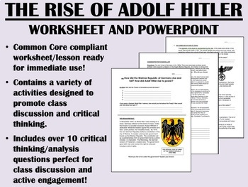 The Rise of Adolf Hitler - ... by Epic History Worksheets ...