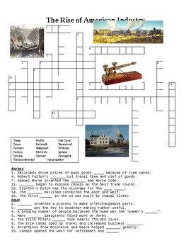 The Rise of American Industry Crossword or Web Quest