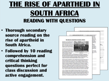 Apartheid Worksheet | Teachers Pay Teachers