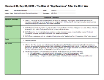 The Rise of Big Business and the Gilded Age (LP + Docs + PPT + Chart)