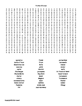 The Rise of Europe Vocabulary Word Search for World History