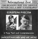 The Rise of European Fascism--Informational Text Worksheet