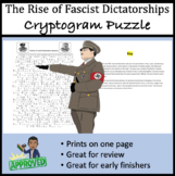 The Rise of Fascist Dictatorships Cryptogram - Great for Review