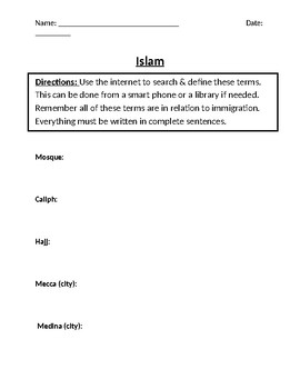 The Rise of Islam Homework Definitions