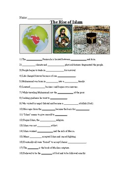 The Rise of Islam Powerpoint Worksheet