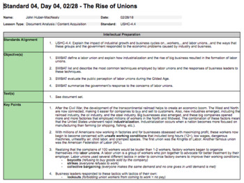 The Rise of Unions During the Gilded Age (LP + Docs + PPT + Chart)