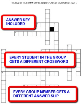 The Rise of the Roman Empire: Interdependent Crossword Puzzles Activity