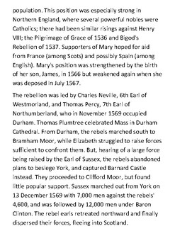 The Rising of the North of 1569 Handout