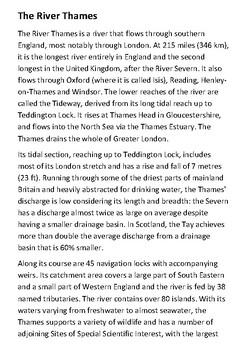 The River Thames Handout