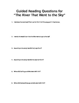 """""""The River That Went to the Sky"""" Guided Reading Questions and Projects"""
