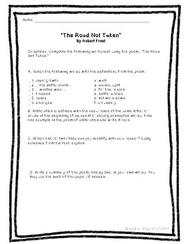 The Road Not Taken Bundle - Recitation, vocabulary, and writing