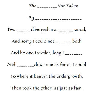The Road Not Taken-Mad Lib