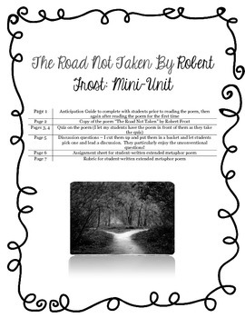 The Road Not Taken, Robert Frost Mini-Unit
