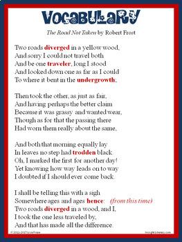 The Road Not Taken by Robert Frost Poem of the Week Activities