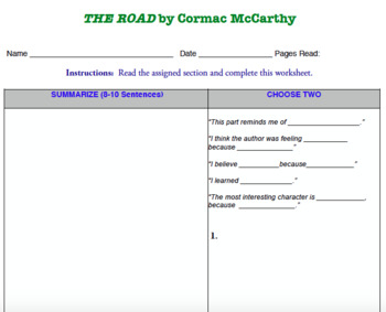 The Road by Cormac McCarthy Summary Assignment