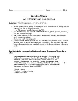 The Road - AP Literature Discussion Guide and Essay Prompts