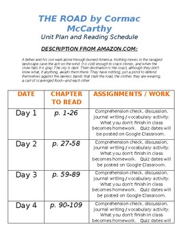 The Road (by McCarthy) Reading Schedule