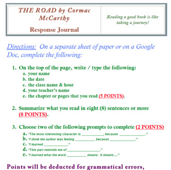 The Road by Cormac McCarthy Response Journal