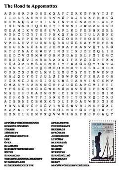 The Road to Appomattox Word Search