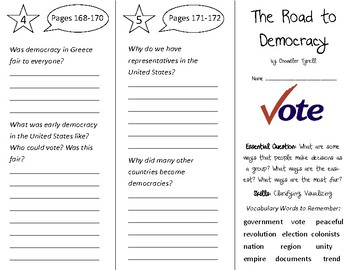 The Road to Democracy Trifold - Open Court 3rd Grade Unit 5 Lesson 1