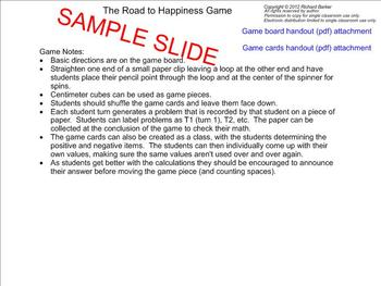 The Road to Happiness Game: Internalizing Integer Addition & Subtraction