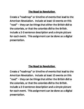 American Revolution: The Road to Revolution Assessment and Presentation
