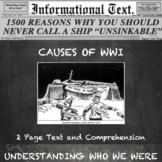 The Causes of World War 1--Informational Text Worksheet